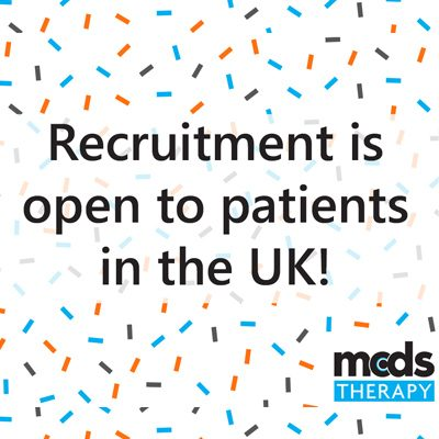 "[Image description: Graphic announcing ""Recruitment is open to patients in the UK!""]"
